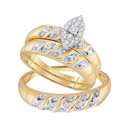 1/8 CTW His Hers Round Diamond Cluster Matching Wedding Set 10kt Yellow Gold - REF-42A8M