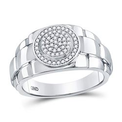 1/5 CTW Mens Round Diamond Circle Cluster Ring 10kt White Gold - REF-39A5M