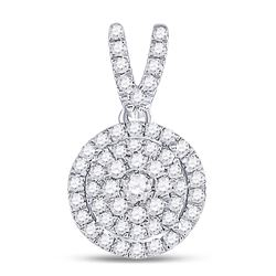 3/8 CTW Womens Round Diamond Circle Frame Cluster Pendant 10kt White Gold - REF-31Y4N