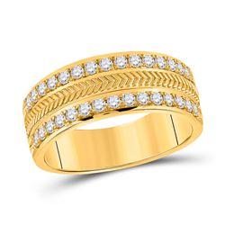 3/4 CTW Mens Round Diamond Wedding Wheat Band Ring 14kt Yellow Gold - REF-143X2T