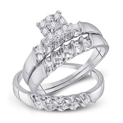 1/8 CTW His Hers Round Diamond Cluster Matching Wedding Set 10kt White Gold - REF-34R3X