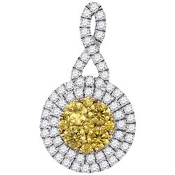 1 CTW Womens Round Yellow Diamond Concentric Circle Frame Cluster Pendant 14kt White Gold - REF-95N5