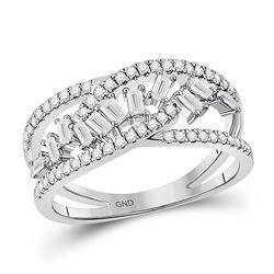 1/2 CTW Womens Baguette Diamond Scattered Band Ring 14kt White Gold - REF-47M6F