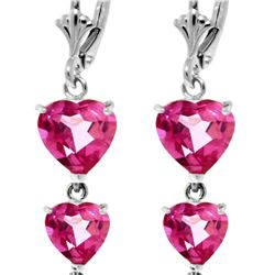 Genuine 6 ctw Pink Topaz Earrings 14KT White Gold - REF-68N4R