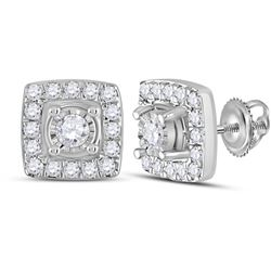 1/5 CTW Womens Round Diamond Square Earrings 10kt White Gold - REF-20F5W