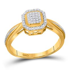 1/10 CTW Womens Round Diamond Octagon Cluster Ring 10kt Yellow Gold - REF-21X8T