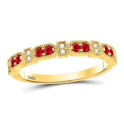 1/4 CTW Womens Round Ruby Diamond Stackable Band Ring 10kt Yellow Gold - REF-25N3A