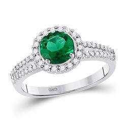 1 & 1/2 CTW Womens Round Lab-Created Emerald Diamond Solitaire Ring 10kt White Gold - REF-38M2F