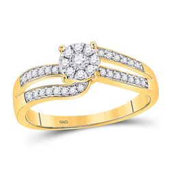1/3 CTW Womens Round Diamond Flower Cluster Ring 10kt Yellow Gold - REF-27N3A