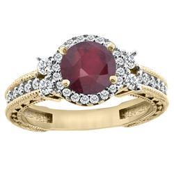 1.46 CTW Ruby & Diamond Ring 14K Yellow Gold - REF-77H7M