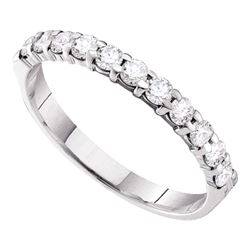 1/2 CTW Womens Round Pave-set Diamond 3.5mm Wedding Band Ring 14kt White Gold - REF-38Y7N