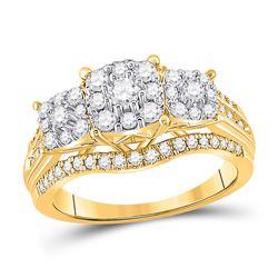 1 CTW Womens Round Diamond Cluster 3-stone Ring 10kt White Gold - REF-94H3R