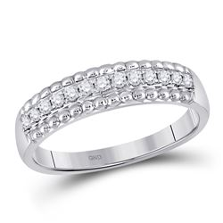 1/4 CTW Womens Round Diamond Wedding Anniversary Band Ring 10kt White Gold - REF-25V9Y