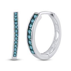 1/4 CTW Womens Round Blue Color Enhanced Diamond Hoop Earrings 10kt White Gold - REF-17Y6N