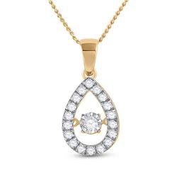 1/3 CTW Womens Round Diamond Moving Twinkle Teardrop Pendant 10kt Yellow Gold - REF-25W9H