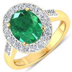 Natural 2.75 CTW Zambian Emerald & Diamond Ring 14K Yellow Gold - REF-130W5X