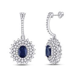 3 CTW Womens Oval Blue Sapphire Diamond Dangle Earrings 14kt White Gold - REF-163F5W