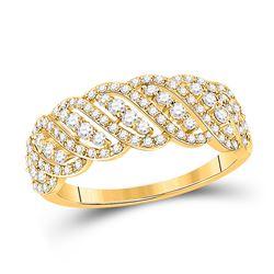 5/8 CTW Womens Round Diamond Anniversary Ring 14kt Yellow Gold - REF-40N8A