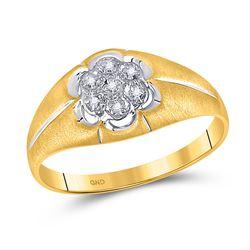 0.02 CTW Mens Round Diamond Matte Flower Cluster Ring 10kt Yellow Gold - REF-17R3X