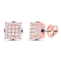5/8 CTW Womens Round Diamond Blue Sapphire Square Earrings 14kt Rose Gold - REF-59H9R
