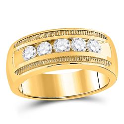 1 CTW Mens Round Diamond Single Row Textured Wedding Band Ring 14kt Yellow Gold - REF-204H5R