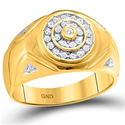 1/4 CTW Mens Round Diamond Concentric Circle Cluster Ring 10kt Yellow Gold - REF-31X9T
