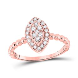 1/3 CTW Womens Round Diamond Oval Cluster Ring 10kt Rose Gold - REF-29X4T