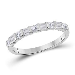 1/2 CTW Womens Baguette Princess Diamond Band Ring 14kt White Gold - REF-38A2M
