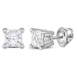 1/2 CTW Unisex Princess Diamond Solitaire Stud Earrings 14kt White Gold - REF-49R3X