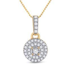 1/6 CTW Womens Round Diamond Circle Pendant 10kt Yellow Gold - REF-13X5T
