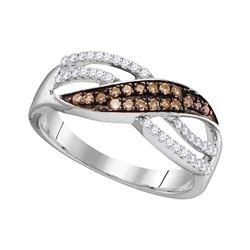1/3 CTW Womens Round Brown Diamond Band Ring 10kt White Gold - REF-23R3X