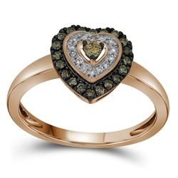 1/4 CTW Womens Round Brown Diamond Heart Ring 10kt Rose Gold - REF-24N5A