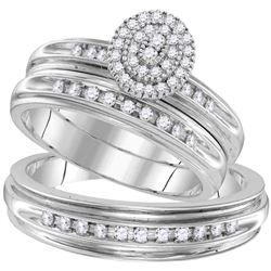 1/2 CTW His Hers Round Diamond Oval Matching Wedding Set 10kt White Gold - REF-51M8F