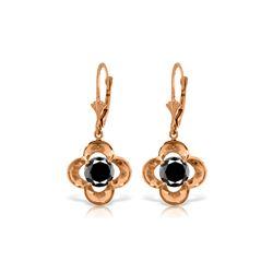 Genuine 1.0 ctw Black Diamond Earrings 14KT Rose Gold - REF-76Y2F
