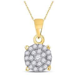 1/4 CTW Womens Round Diamond Cluster Pendant 10kt Yellow Gold - REF-17M6F