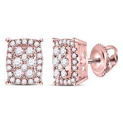 1/4 CTW Womens Round Diamond Rectangular Cluster Earrings 14kt Rose Gold - REF-28H5R