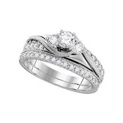 7/8 CTW Round Diamond 3-Stone Bridal Wedding Ring 14kt White Gold - REF-126N2A