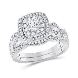 1 CTW Princess Diamond Bridal Wedding Ring 14kt White Gold - REF-136W4H