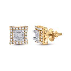 1/2 CTW Womens Baguette Diamond Square Earrings 14kt Yellow Gold - REF-51H8R