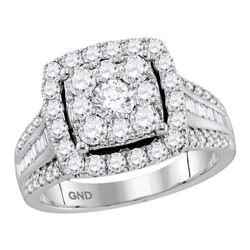2 CTW Round Diamond Cluster Bridal Wedding Engagement Ring 10kt White Gold - REF-196N5A