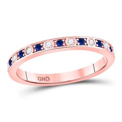 1/4 CTW Womens Round Blue Sapphire Diamond Alternating Stackable Band Ring 10kt Rose Gold - REF-24T5