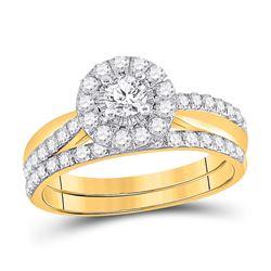 1 CTW Round Diamond Bridal Wedding Ring 10kt Yellow Gold - REF-95N5A