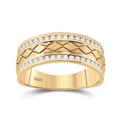 1/2 CTW Mens Round Diamond Wedding Band Ring 14kt Yellow Gold - REF-81T7V