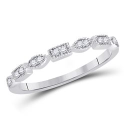 1/10 CTW Womens Round Diamond Geometric Stackable Band Ring 14kt White Gold - REF-21W8H