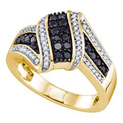 1/2 CTW Womens Round Black Color Enhanced Diamond Cluster Ring 10kt Yellow Gold - REF-40Y3N