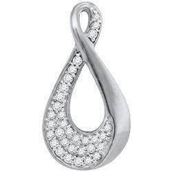 1/8 CTW Womens Round Diamond Teardrop Cluster Pendant 10kt White Gold - REF-13Y5N