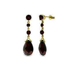Genuine 13.2 ctw Garnet Earrings 14KT Yellow Gold - REF-39Z3N