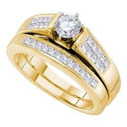 1 CTW Round Diamond Bridal Wedding Ring 14kt Yellow Gold - REF-184M3F
