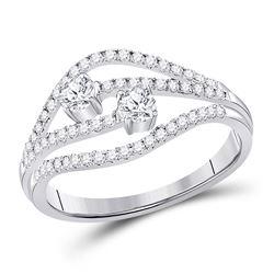 1/2 CTW Round Diamond 2-stone Bridal Wedding Engagement Ring 14kt White Gold - REF-58W2H