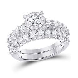 2 CTW Round Diamond Bridal Wedding Ring 14kt White Gold - REF-245N4A
